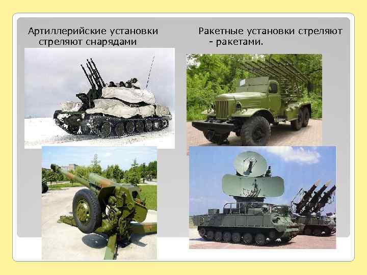 Артиллерийские установки стреляют снарядами Ракетные установки стреляют - ракетами.
