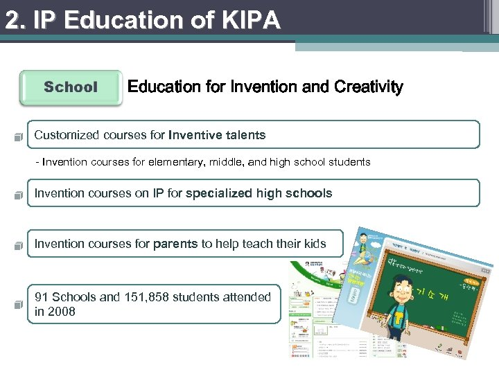 2. IP Education of KIPA Education for Invention and Creativity Customized courses for Inventive