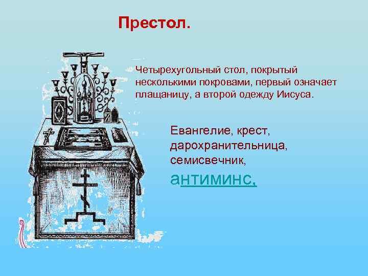 Престол. Четырехугольный стол, покрытый несколькими покровами, первый означает плащаницу, а второй одежду Иисуса. Евангелие,