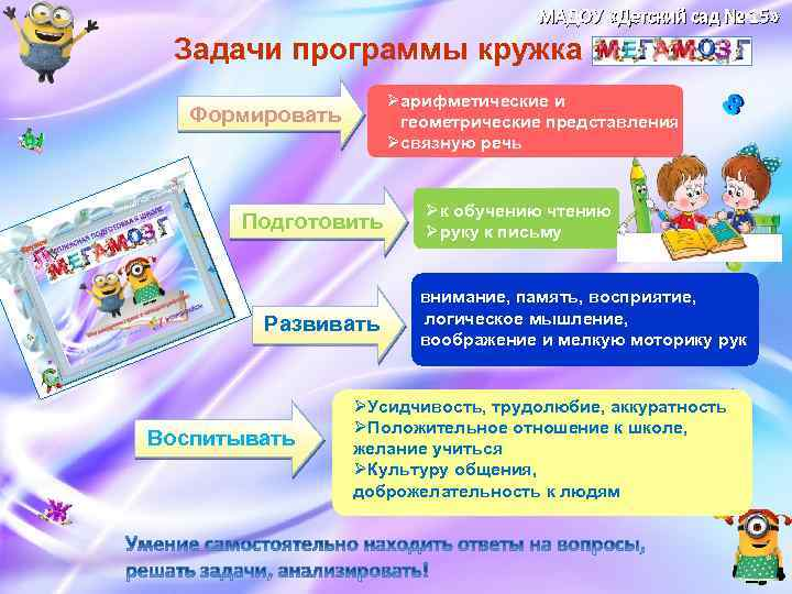 МАДОУ «Детский сад № 15» Задачи программы кружка Øарифметические и геометрические представления Øсвязную речь