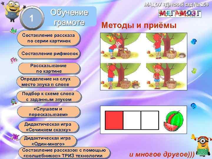 МАДОУ «Детский сад № 15» 1 Обучение грамоте Методы и приёмы Составление рассказа по
