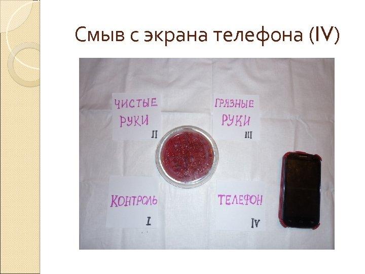 Смыв с экрана телефона (IV)