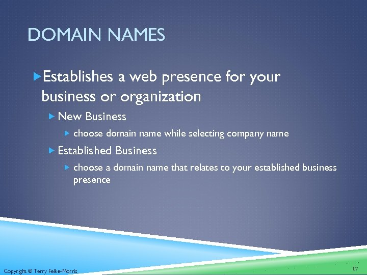 DOMAIN NAMES Establishes a web presence for your business or organization New Business choose