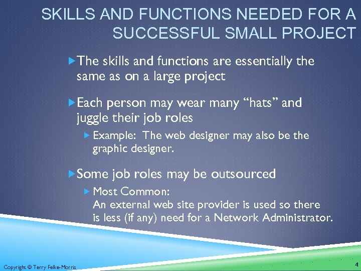 SKILLS AND FUNCTIONS NEEDED FOR A SUCCESSFUL SMALL PROJECT The skills and functions are