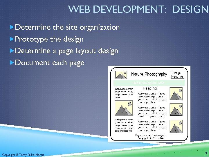 WEB DEVELOPMENT: DESIGN Determine the site organization Prototype the design Determine a page layout