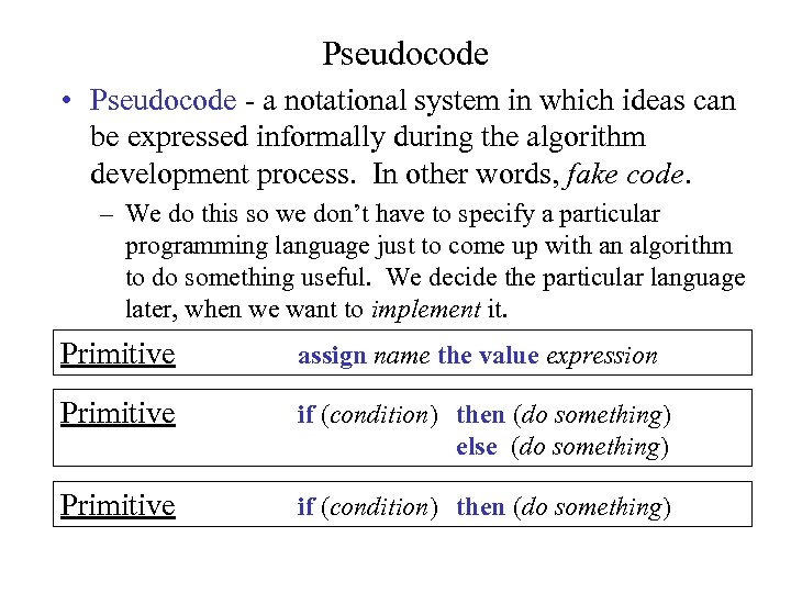 Pseudocode • Pseudocode - a notational system in which ideas can be expressed informally