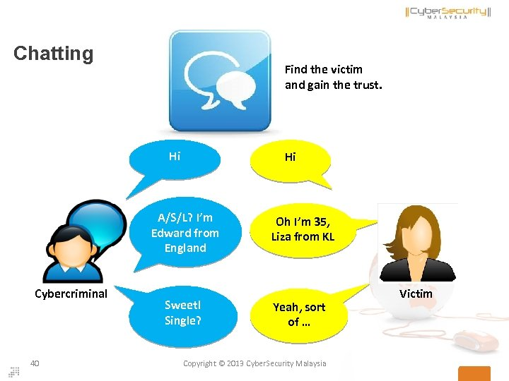 Chatting Find the victim and gain the trust. Hi Hi A/S/L? I'm Edward from