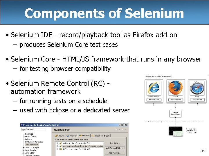 Components of Selenium • Selenium IDE - record/playback tool as Firefox add-on – produces