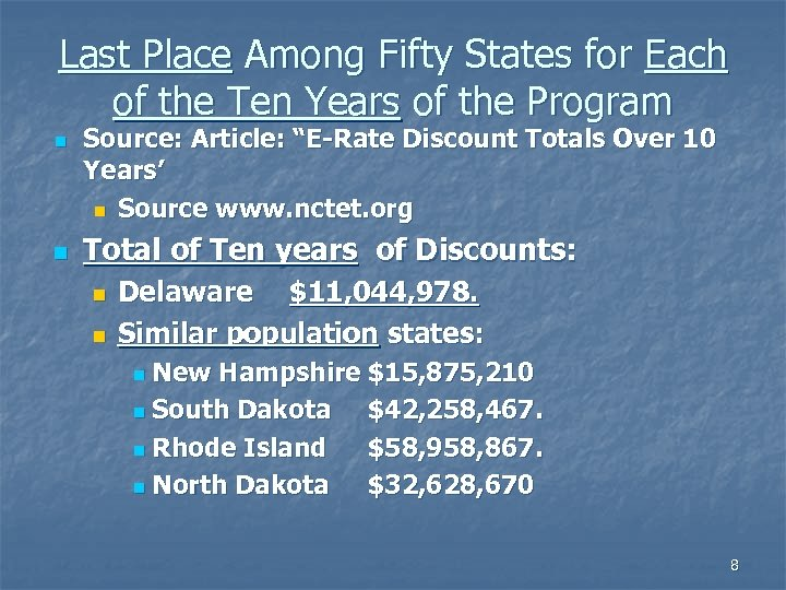 Last Place Among Fifty States for Each of the Ten Years of the Program