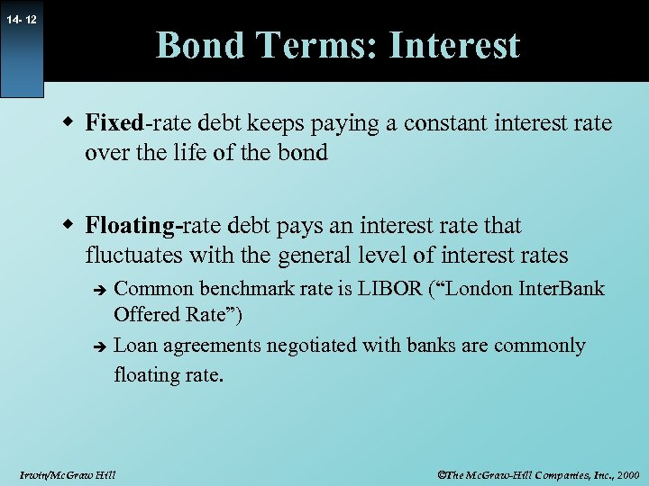 14 - 12 Bond Terms: Interest w Fixed-rate debt keeps paying a constant interest