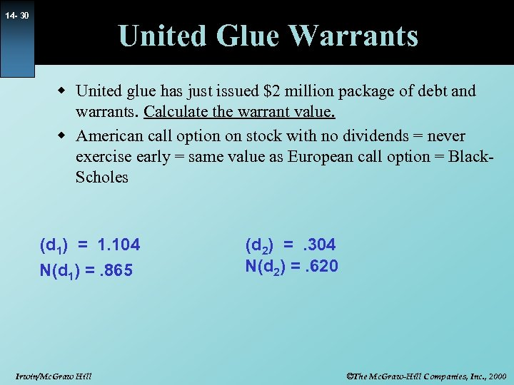 14 - 30 United Glue Warrants w United glue has just issued $2 million