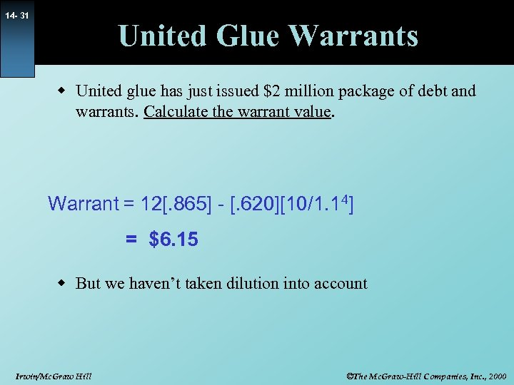 14 - 31 United Glue Warrants w United glue has just issued $2 million