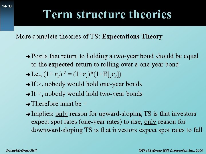 14 - 50 Term structure theories More complete theories of TS: Expectations Theory Posits