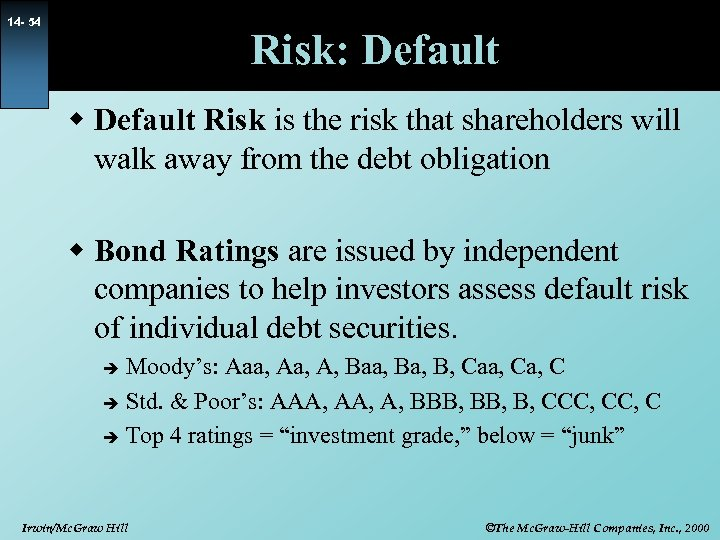 14 - 54 Risk: Default w Default Risk is the risk that shareholders will