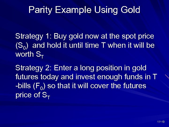 Parity Example Using Gold Strategy 1: Buy gold now at the spot price (S