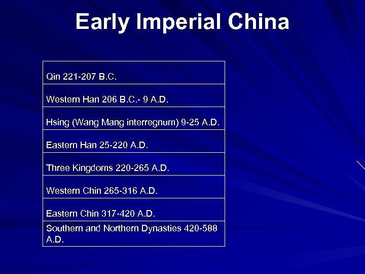 Early Imperial China Qin 221 -207 B. C. Western Han 206 B. C. -