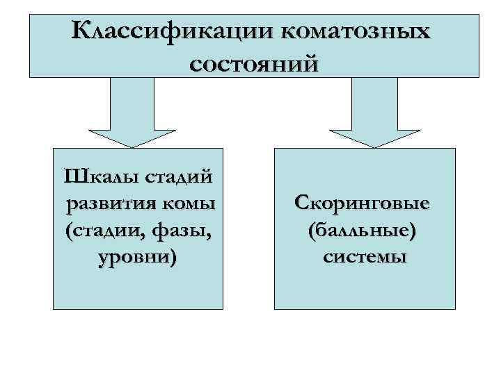 Классификации коматозных состояний Шкалы стадий развития комы (стадии, фазы, уровни) Скоринговые (балльные) системы