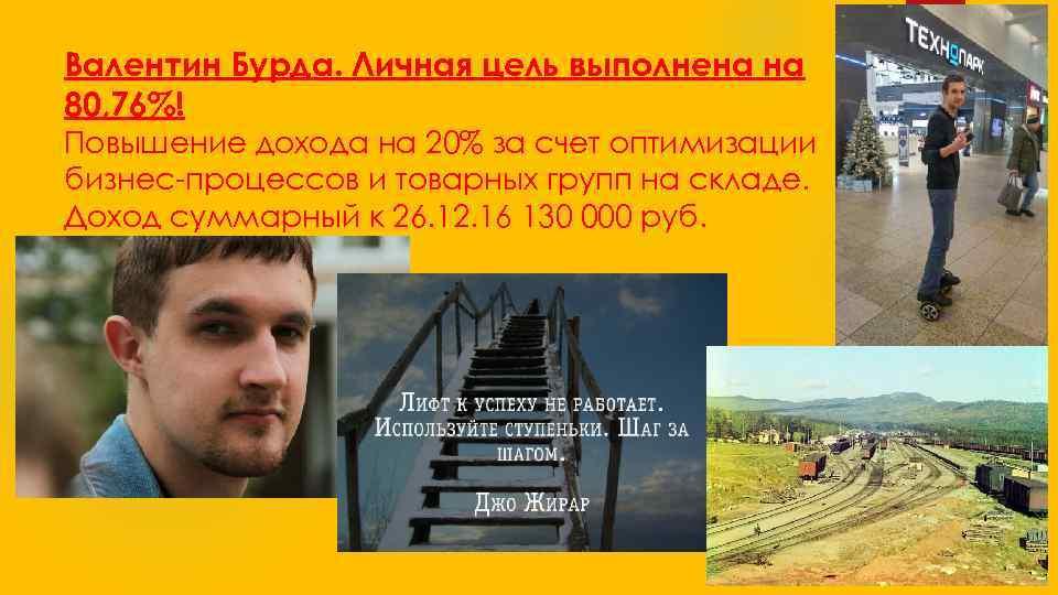 Валентин Бурда. Личная цель выполнена на 80, 76%! Повышение дохода на 20% за счет