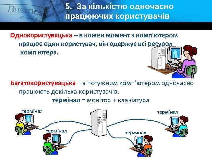 5. За кількістю одночасно працюючих користувачів Однокористувацька – в кожен момент з комп'ютером працює