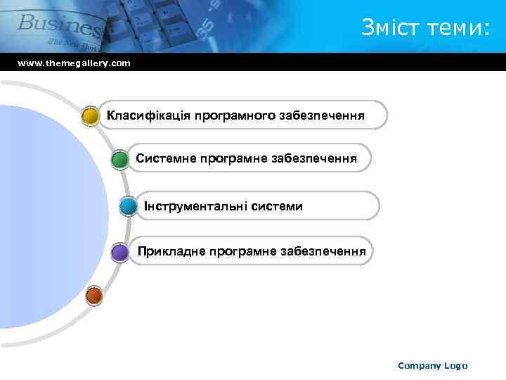 Зміст теми: www. themegallery. com Класифікація програмного забезпечення Системне програмне забезпечення Інструментальні системи Прикладне