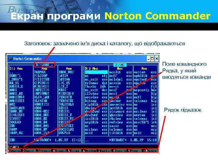 Екран програми Norton Commander Заголовок: зазначено ім'я диска і каталогу, що відображаються Поле командного