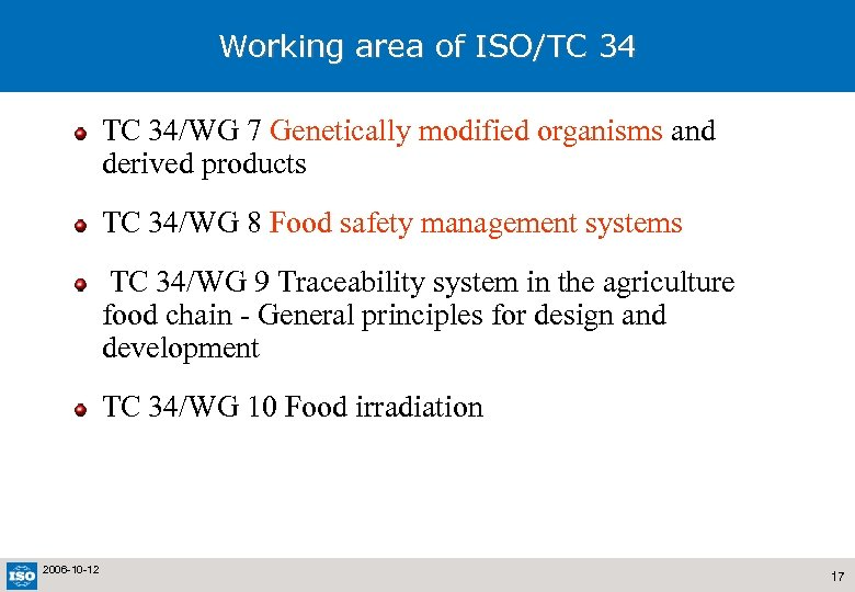 Working area of ISO/TC 34/WG 7 Genetically modified organisms and derived products TC 34/WG