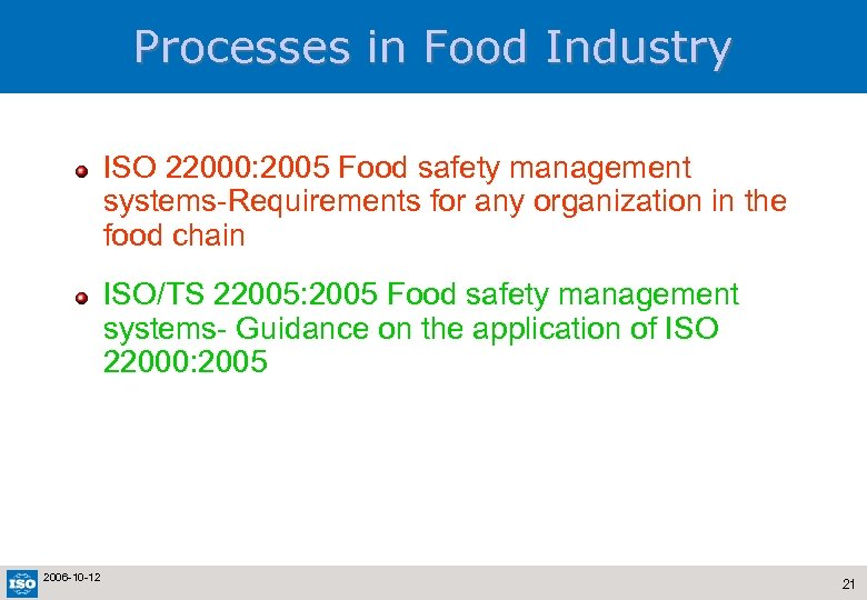 Processes in Food Industry ISO 22000: 2005 Food safety management systems-Requirements for any organization