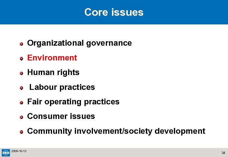 Core issues Organizational governance Environment Human rights Labour practices Fair operating practices Consumer issues