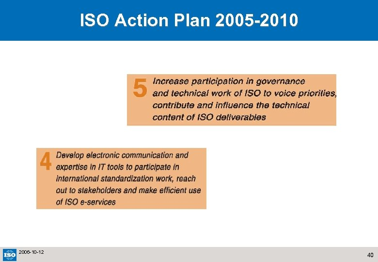 ISO Action Plan 2005 -2010 2006 -10 -12 40