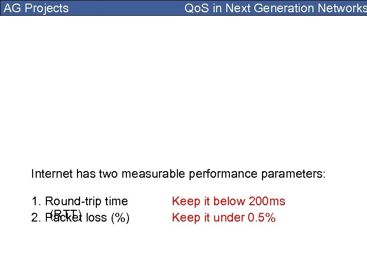 AG Projects Qo. S in Next Generation Networks Internet has two measurable performance parameters: