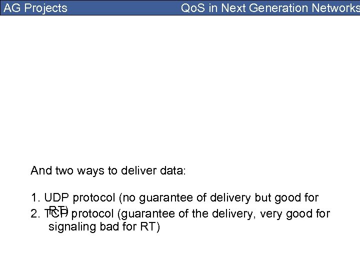 AG Projects Qo. S in Next Generation Networks And two ways to deliver data:
