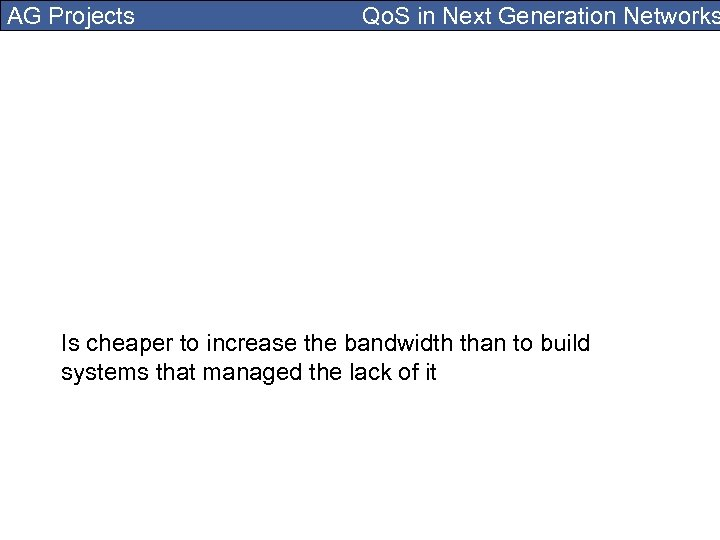AG Projects Qo. S in Next Generation Networks Is cheaper to increase the bandwidth
