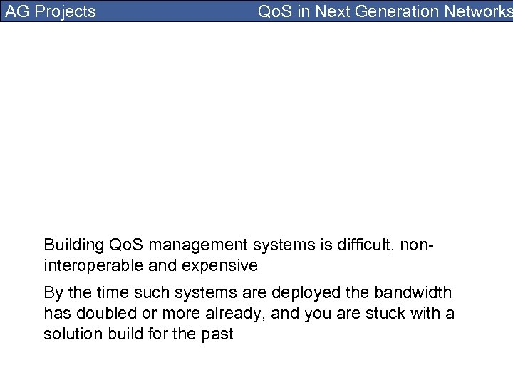 AG Projects Qo. S in Next Generation Networks Building Qo. S management systems is