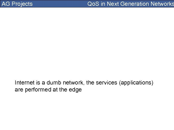 AG Projects Qo. S in Next Generation Networks Internet is a dumb network, the