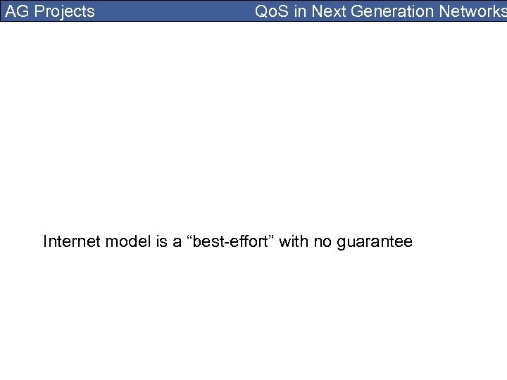 "AG Projects Qo. S in Next Generation Networks Internet model is a ""best-effort"" with"