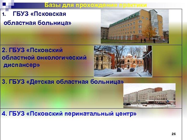 Базы для прохождения практики 1. ГБУЗ «Псковская областная больница» 2. ГБУЗ «Псковский областной онкологический