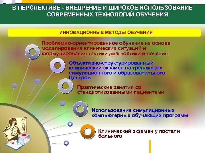 В ПЕРСПЕКТИВЕ - ВНЕДРЕНИЕ И ШИРОКОЕ ИСПОЛЬЗОВАНИЕ СОВРЕМЕННЫХ ТЕХНОЛОГИЙ ОБУЧЕНИЯ ИННОВАЦИОННЫЕ МЕТОДЫ ОБУЧЕНИЯ Проблемно-ориентированное