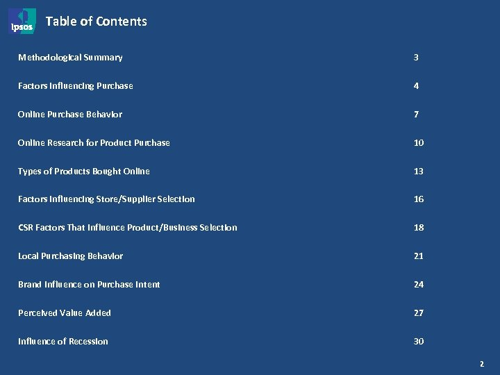 Table of Contents Methodological Summary 3 Factors Influencing Purchase 4 Online Purchase Behavior 7