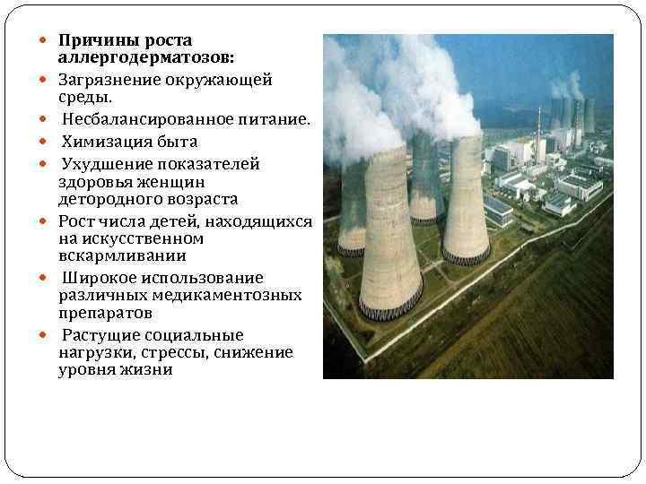 Причины роста аллергодерматозов: Загрязнение окружающей среды. Несбалансированное питание. Химизация быта Ухудшение показателей здоровья