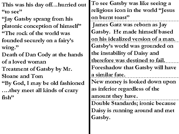"""This was his day off…hurried out """"to see"""" """"Jay Gatsby sprang from his platonic"""