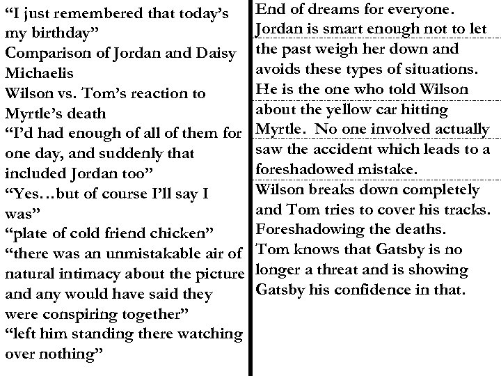 """""""I just remembered that today's my birthday"""" Comparison of Jordan and Daisy Michaelis Wilson"""