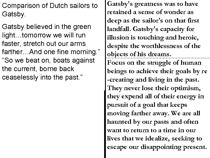 Comparison of Dutch sailors to Gatsby believed in the green light…tomorrow we will run