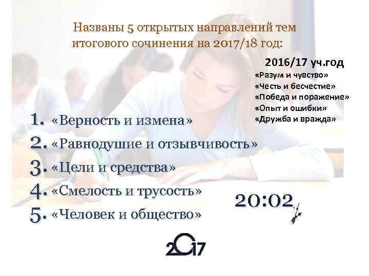 Названы 5 открытых направлений тем итогового сочинения на 2017/18 год: 2016/17 уч. год «Разум