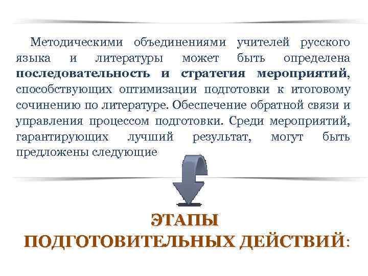Методическими объединениями учителей русского языка и литературы может быть определена последовательность и стратегия мероприятий,