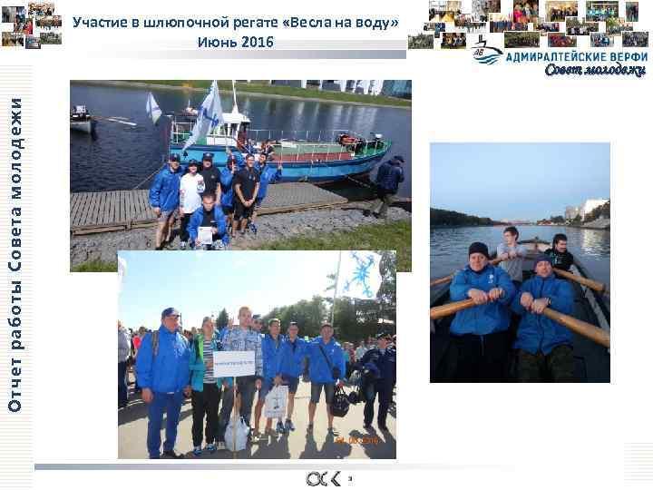 Участие в шлюпочной регате «Весла на воду» Июнь 2016 Отчет работы Совета молодежи Совет