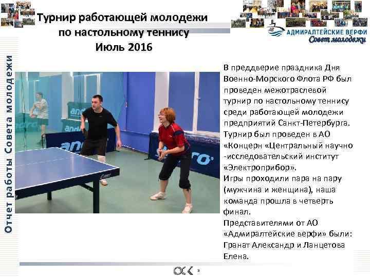 Отчет работы Совета молодежи Турнир работающей молодежи по настольному теннису Июль 2016 Совет молодежи