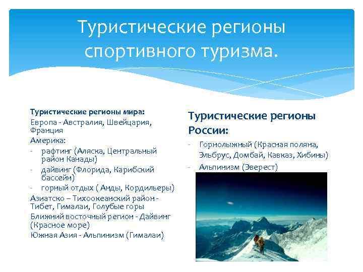 Туристические регионы спортивного туризма. Туристические регионы мира: Европа - Австралия, Швейцария, Франция Америка: -