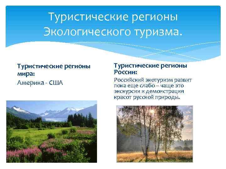 Туристические регионы Экологического туризма. Туристические регионы мира: Америка - США Туристические регионы России: Российский