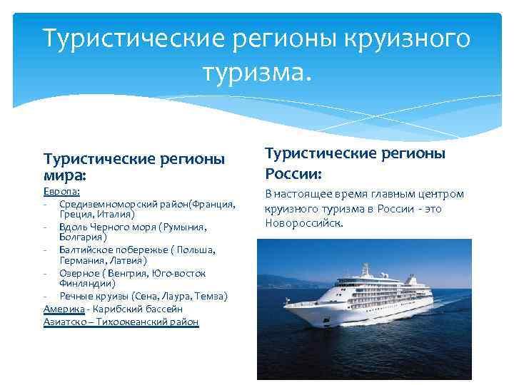 Туристические регионы круизного туризма. Туристические регионы мира: Европа: - Средиземноморский район(Франция, Греция, Италия) -