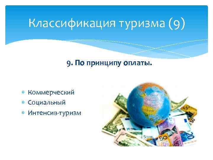 Классификация туризма (9) 9. По принципу оплаты. Коммерческий Социальный Интенсив-туризм